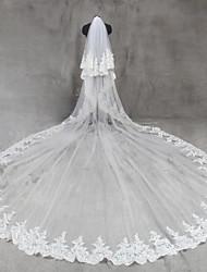 Véus de Noiva Duas Camadas Véu Catedral Borda com aplicação de Renda Rede Tule