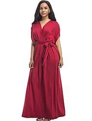 Для женщин На каждый день Большие размеры Уличный стиль Свободный силуэт Платье Однотонный,V-образный вырез Макси С короткими рукавами