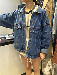Women's Casual/Daily Simple Spring Winter Denim Jacket,Letter Shirt Collar Long Sleeve Long Denim