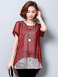 Women's Casual/Daily Street chic Summer T-shirt,Solid Round Neck Short Sleeve Cotton Medium