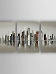 Pintada a mano Abstracto Horizontal,Abstracto Moderno/Contemporáneo Nueva llegada Tres Paneles Lienzos Pintura al óleo pintada a colgar