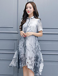 Women's Going out Casual/Daily Holiday A Line Dress,Floral Shirt Collar Knee-length Short Sleeve Linen Summer Low Rise Inelastic Medium