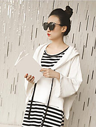 Women's Casual/Daily Cute Summer Tank Top Dress Suits,Striped Hooded Long Sleeve Micro-elastic