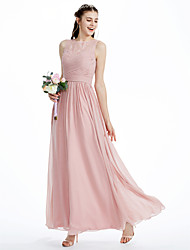 2017 LAN TING BRIDE Ankle-length Boat Neck Bridesmaid Dress - Beautiful Back Sleeveless Chiffon Lace