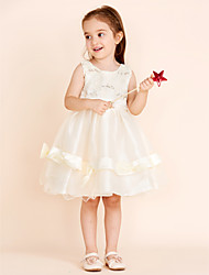 Princess Knee-length Flower Girl Dress - Cotton Lace Tulle Satin Chiffon Jewel with Bow(s) Buttons Sequins