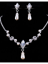 Jewelry Set Rhinestone Pendant Imitation Pearl Rhinestone Alloy Drop 1 Necklace 1 Pair of Earrings For Wedding Party Anniversary Birthday