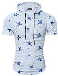 Men's Fashion Casual Hooded Stars Printing Short Sleeves T-Shirt