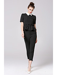 ZIYI Women's Casual/Daily Work Simple Spring Summer Fall Shirt Pant Suits,Striped Shirt Collar Cropped Pant Inelastic