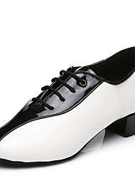 Non Customizable Men's Dance Shoes Leatherette Leatherette Latin / Ballroom Heels Low Heel Professional / Indoor / Performance / Practice
