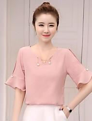 Damen Solide Einfach Sonstiges Normal T-shirt,Rundhalsausschnitt ½ Länge Ärmel Andere