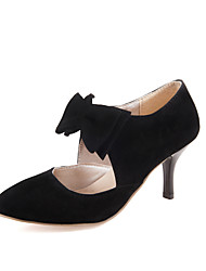 Women's Heels Formal Shoes Leatherette Spring Summer Gift Daily Formal Outdoor clothing Bowknot Stiletto Heel Ruby Black 5in & over