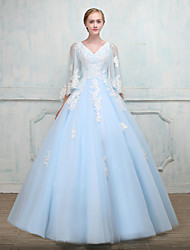 Formal Evening Dress - Elegant Wrap Included Ball Gown V-neck Floor-length Tulle with Beading Lace