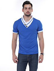 Men's Daily Casual Simple Active Summer T-shirt,Patchwork High Neck Short Sleeve 80% Cashmere 20% Silk 98%Cotton 2%Spendex 30D