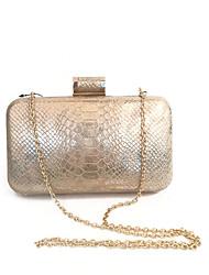 Women's Vintage Designer Snake Pattern Party Clutch Bag Gold