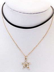 Euramerican Fashion And Lovely Pentagram Rhinestone Double-layer Lady Daily   Necklace Movie Jewelry
