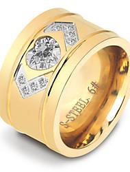 Women's  Love Adorable Elegant Cubic Zirconia Titanium Steel Ring Heart Jewelry For Wedding Anniversary Daily