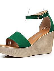 Damen Sandalen Kunststoff Sommer Keilabsatz Schwarz Rot Grün 5 - 7 cm
