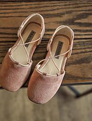 Girls' Flats Comfort Leatherette Spring Fall Outdoor Casual Walking Magic Tape Low Heel Blushing Pink Yellow Black Flat