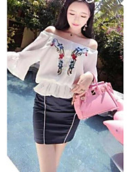 Women's Casual/Daily Simple Summer Blouse Skirt Suits,Floral Bateau 3/4 Length Sleeve Embroidered