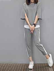 Women's Work Simple Spring, Fall, Winter, Summer T-shirt Pant Suits,Solid Hooded Long Sleeve
