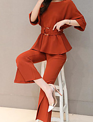 Chemise Pantalon Costumes Femme Eté Col Arrondi Micro-élastique