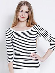 Tee-shirt Femme,Rayé Bureau/Carrière Décontracté simple Manches ¾ Bateau Coton