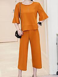 Для женщин Лето Рубашка Брюки Костюмы Круглый вырез 1/2 Length Sleeve Слабоэластичная