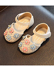 Girls' Flats First Walkers Leatherette Spring Fall Outdoor Casual Walking Magic Tape Low Heel Screen Color Blushing Pink Beige Flat