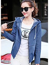 Women's Casual/Daily Simple Spring Denim Jacket,Solid Hooded Long Sleeve Regular Linen