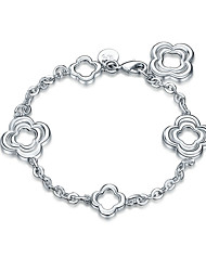 Exquisite Silver Plated Clear Crystal Sweet Triple Flower Chain & Link Bracelets Jewellery for Women Accessiories