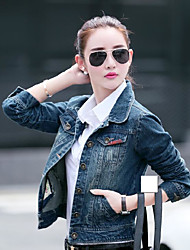 Women's Daily Casual Spring/Fall Denim Jacket,Solid Shirt Collar Long Sleeve Short Denim