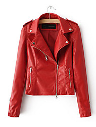 Women's Daily Modern/Comtemporary Spring Leather Jacket,Solid Shirt Collar Long Sleeve Regular Others