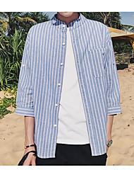 Masculino Camisa Social Casual Simples Verão,Listrado Algodão Colarinho Chinês 3/4 de Manga Fina Média