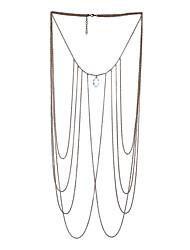 Lureme Gold Tone Metal with Crystal Body Chain Necklace Women Sexy Bikini Beach Long Chain