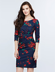 Women's Work Simple Shift Dress,Floral Round Neck Above Knee ¾ Sleeve Blue Acrylic Spring / Fall