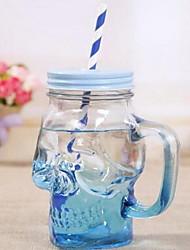 Creative Gradual Color Skull Glass Bottles Summer Juice Drink Cup