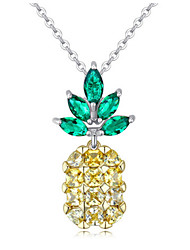 Pendant Necklaces Fine Jewelry Zircon Fruit Pineapple Elegant Ladys Girls Daily Statement Jewelry for Engagement Gift