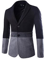 Costume / Tailleur Homme,Couleur Pleine Travail simple Automne Hiver Manches longues Mao Normal Coton