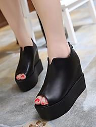 Damen Sandalen Leder PU Frühling Schwarz 5 - 7 cm