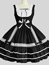 Uma-Peça/Vestidos Doce Rococo Cosplay Vestidos Lolita Cor Única Sem Manga Longuete Vestido Anágua Para Tecido Alcochoado