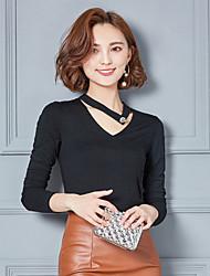 Damen Solide Einfach Normal T-shirt,V-Ausschnitt Langarm Polyester