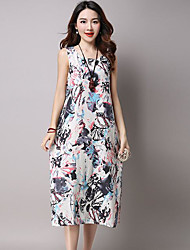 Women's Casual/Daily Holiday Shift Dress,Floral Round Neck Midi Sleeveless Cotton Linen Summer Low Rise Inelastic Medium