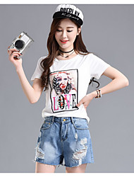 Women's Going out Casual/Daily Simple Summer T-shirt Pant Suits,Sexy Lady Round Neck Short Sleeve