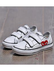 Boys' Sneakers Comfort Cowhide Spring Fall Casual Walking Comfort Magic Tape Low Heel Black White Flat