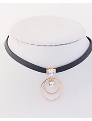 Choker Necklaces Pendant Dangling Style Rhinestone Circle Ladys Girls Daily Statement Jewelry For OL