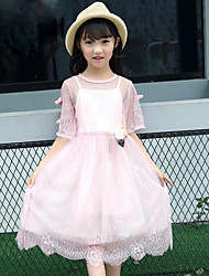 Girls' Fashion Lace Flower Sets,Cotton Polyester Summer 1/2 Length Sleeve Clothing Set