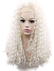 White Color Syntheic Curly Wigs for Women High Quality Syntheic Hair Wig