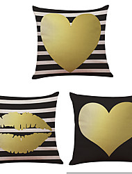 Set of 3  Golden Love Pattern  Linen Pillowcase Sofa Home Decor Cushion Cover