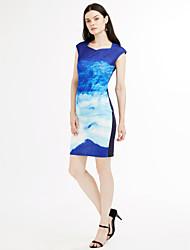 Moulante Robe Femme Habillées / Soirée / Cocktail Vintage,Imprimé / Jacquard Coeur Midi Manches Courtes Bleu Polyester / SpandexToutes