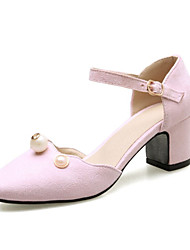 Women's Heels Formal Shoes Comfort Fleece Spring Summer Wedding Party & Evening Dress Casual Pearl Chunky Heel Blushing Pink Gray Black